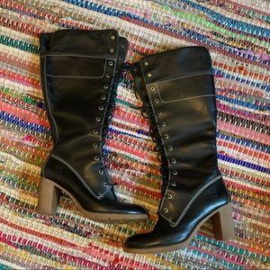 Black timberland heeled boots